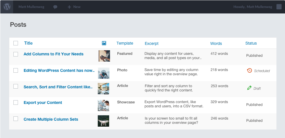 Custom Admin Overview for Posts