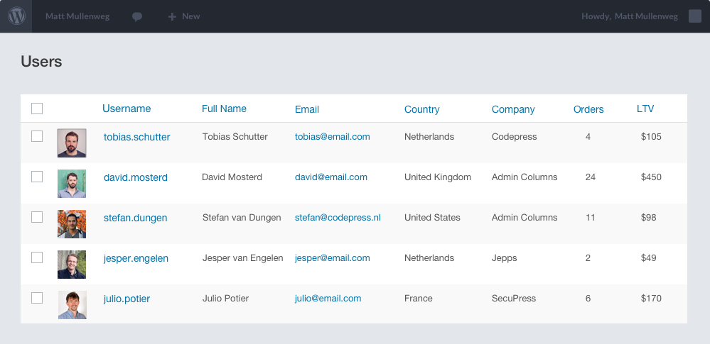 Custom Admin Overview for Users