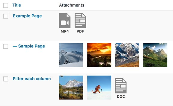Attachments column for WordPress