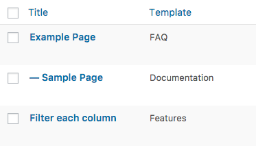 Page Template column for WordPress