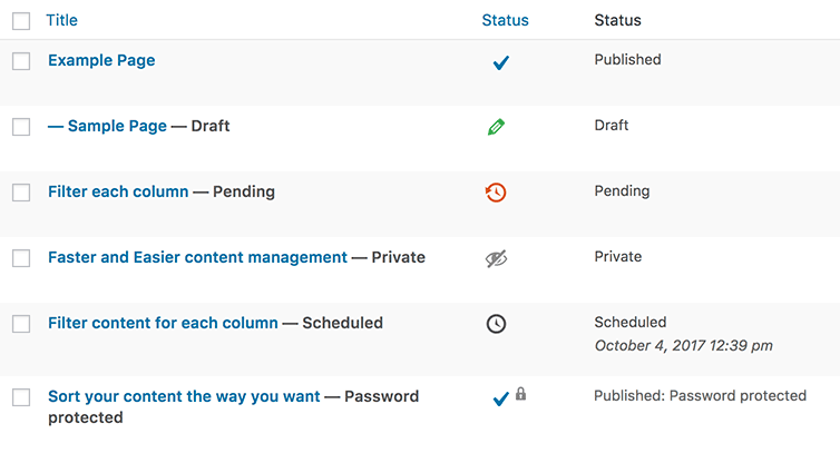 Post Status column for WordPress