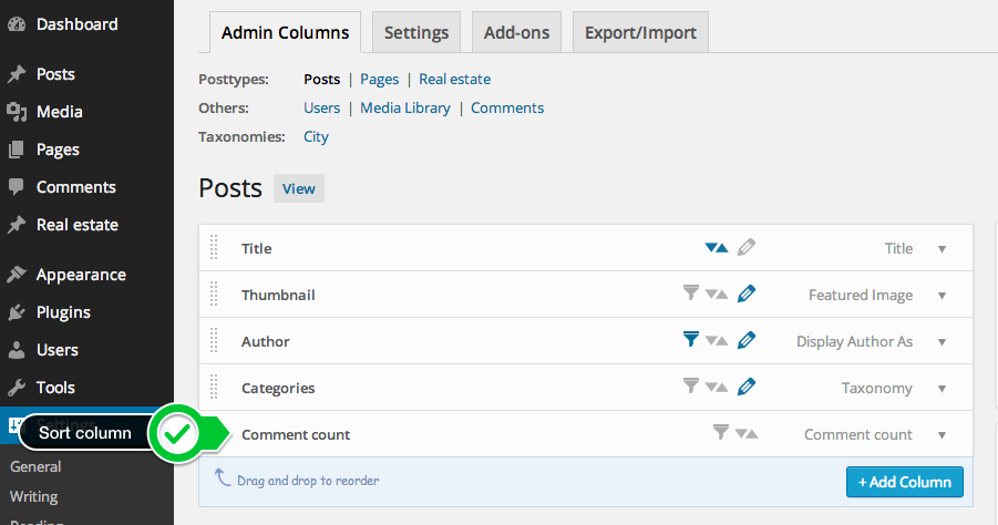 sorting-step1 : Go to the column you want to be able to sort by in the Admin Columns settings screen.