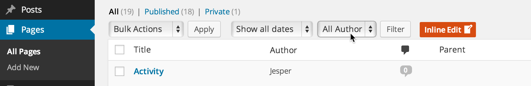 Done! There is now an option to display posts by a specific author only in your posts overview.