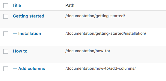 Path column for WordPress