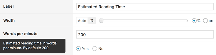 Estimated Reading Time column settings