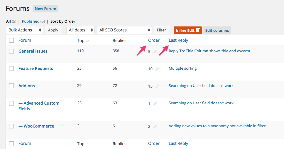 """The new release of Admin Columns now supports bbPress columns! You can remove or add columns on the bbPress Forum, Topic and Reply listing pages. There are many additional columns you can add!In the screenshot below we added an """"Order"""" and """"Last Reply"""" column to the Forum overview, but there are many more you can use."""