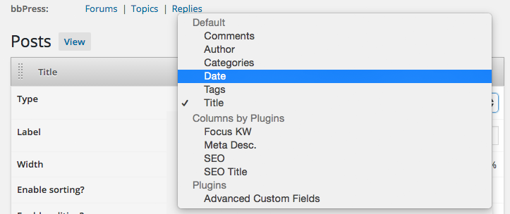 set your own default columns