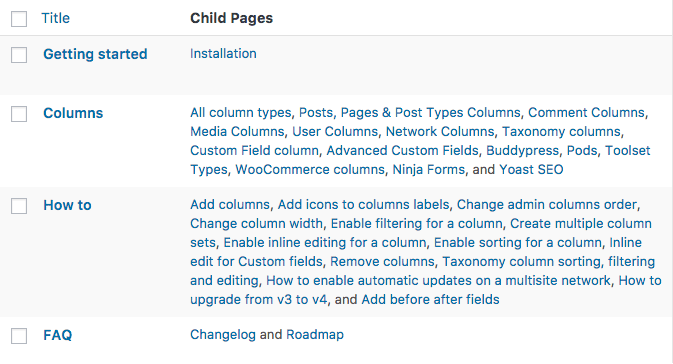 Child Pages column for WordPress