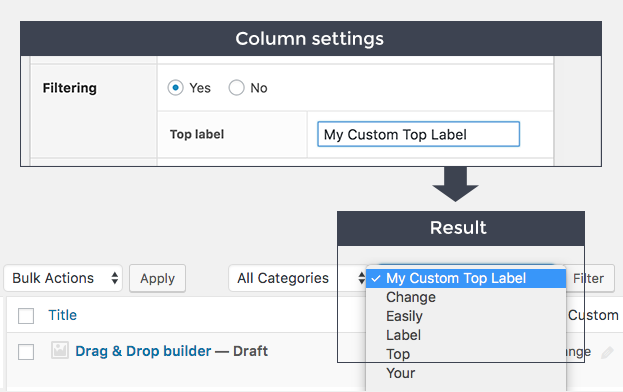 Easily change the top label for filtering allowing you more freedom to explain the contents and working of the filter.