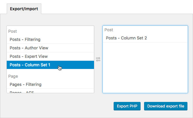 Import and Export Column Settings