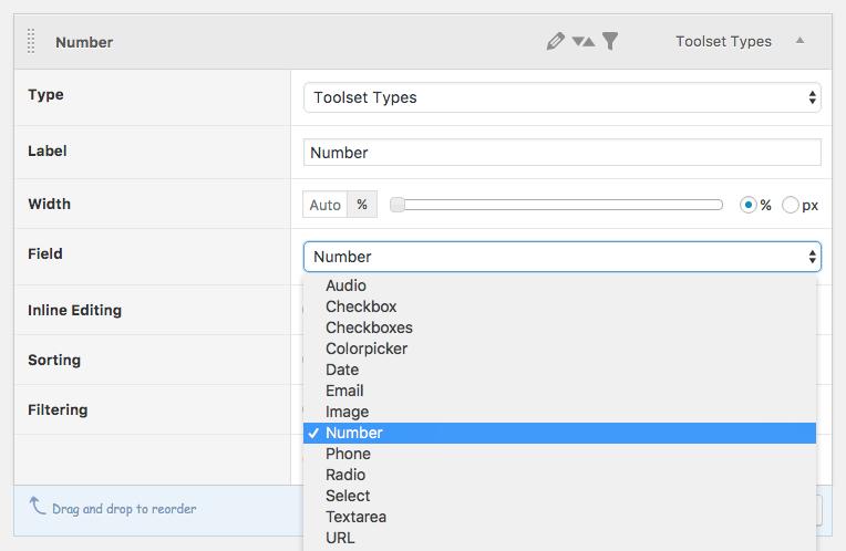 Toolset Types Column settings