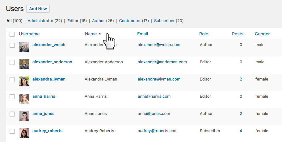 Users overview with custom sortable columns. Sort content and easily adjust it with bulk or inline edit.