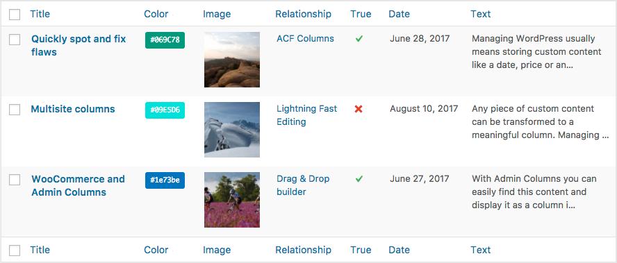 WordPress overview with Custom Fields Columns