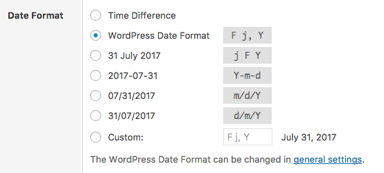 Date settings for WordPress date column