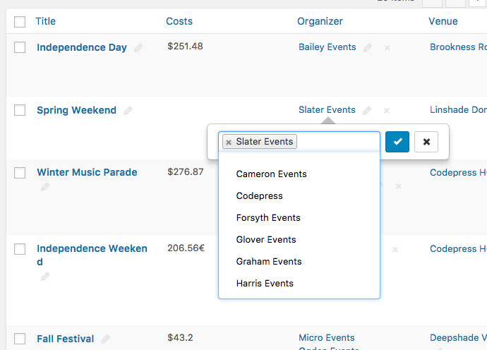 Quickly Edit your Events