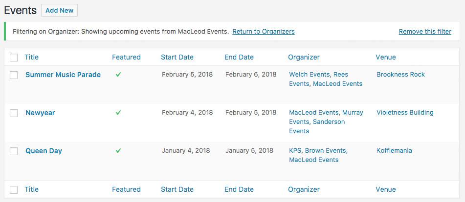 Custom Event, Organizer and Venue Columns