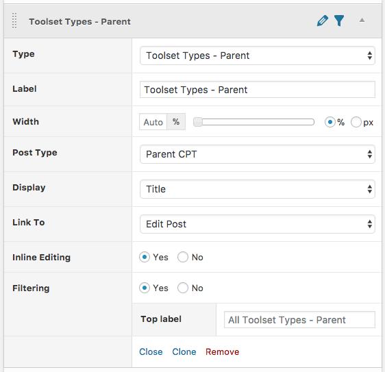 Column settings for Toolset Types
