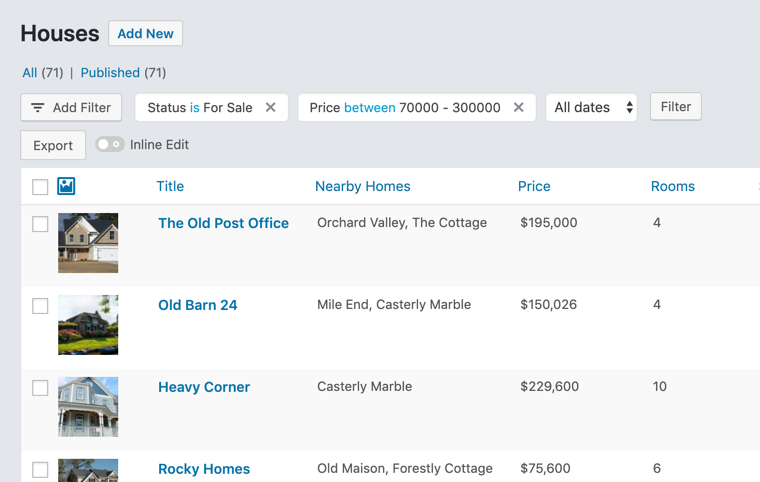 Customized Real Estate list table for WordPress