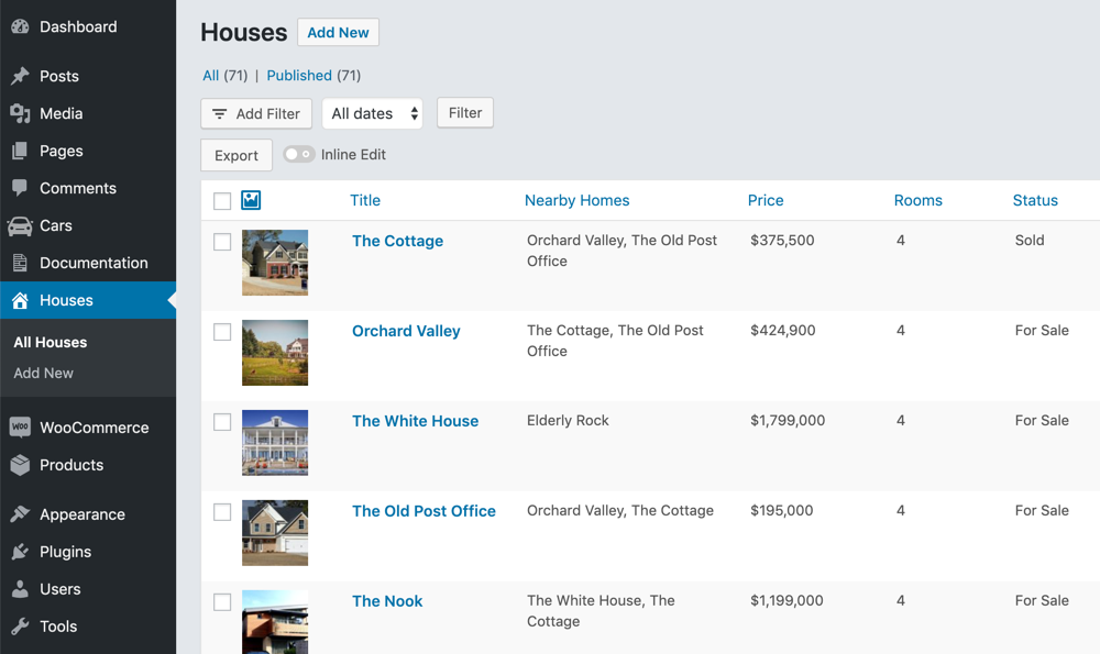 Customized Real Estate WordPress List Table managed by Admin Columns Pro