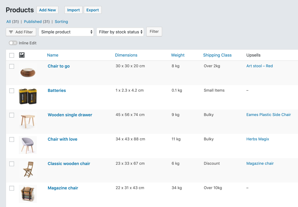 Products page with added columns for Dimensions, Weight, Shipping Class, and Upsells