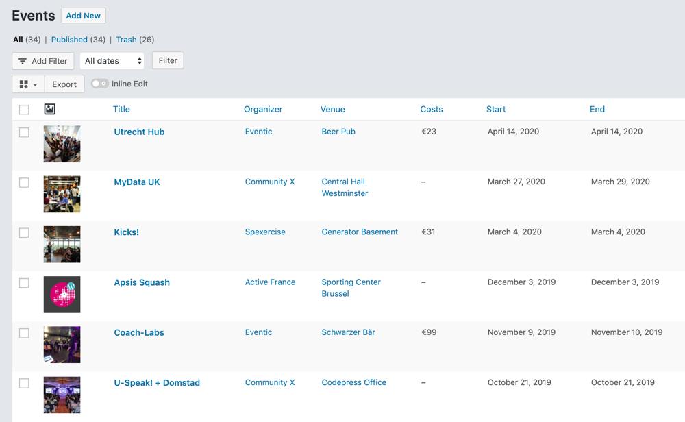 Customized Events WordPress List Table