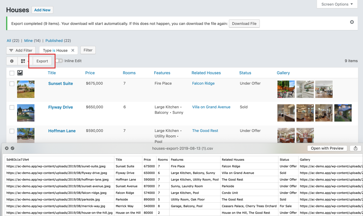 Export ACF data from the WordPress list table