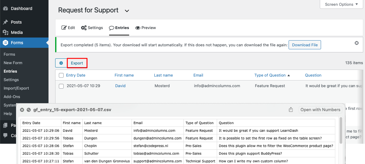 Gravity forms export entries to CSV