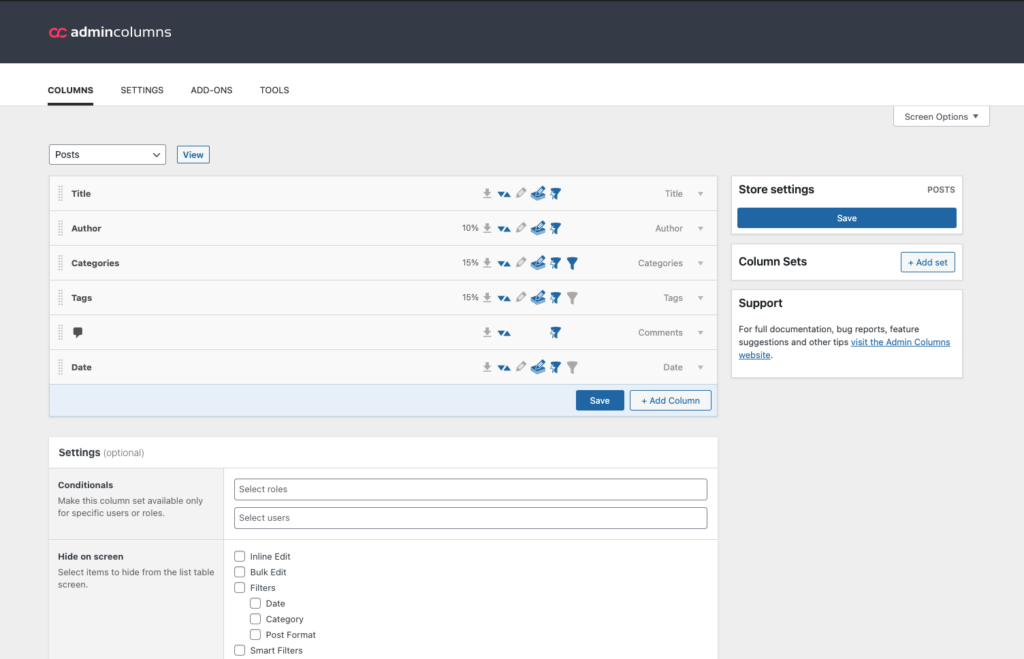 Printscreen of the new look and feel for Admin Columns 5.6