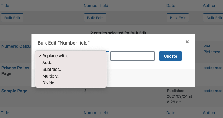 Screenshot of the new Calculation option for Admin Columns Pro.