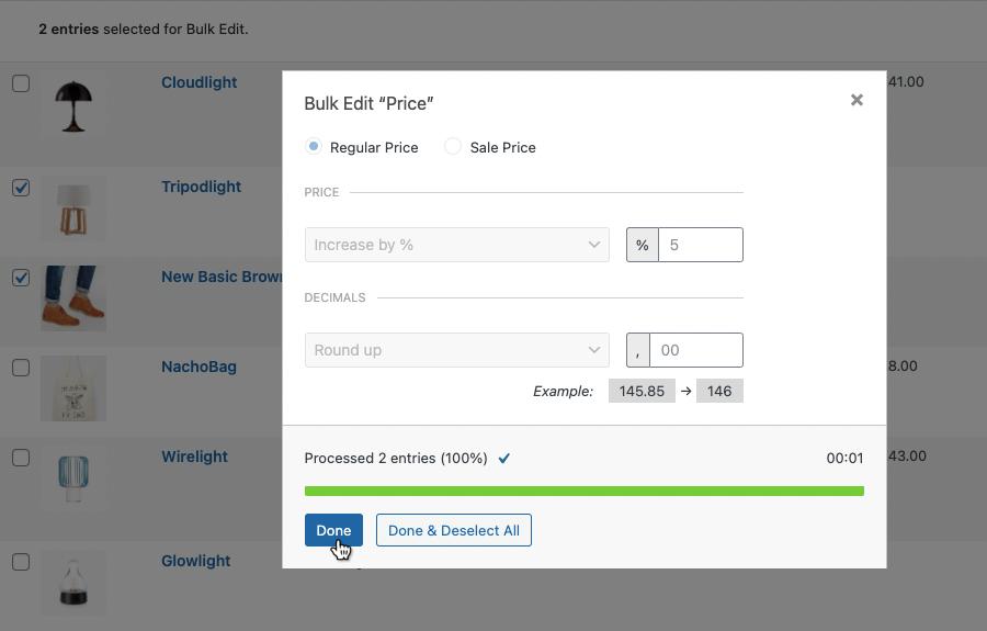 Final screen of performing a Bulk price update