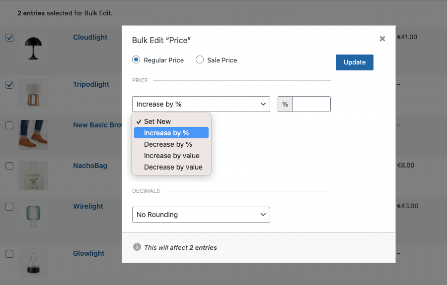 Screenshot of price rules for bulk updating a price