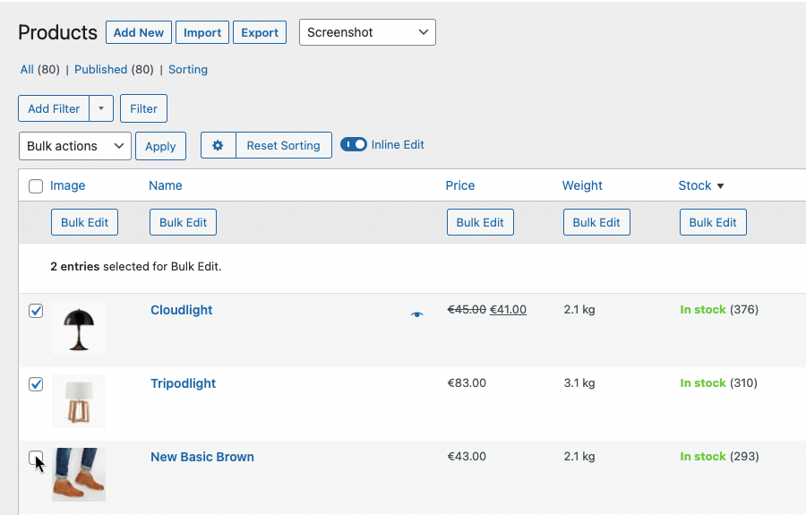 Table view to select woocommerce products